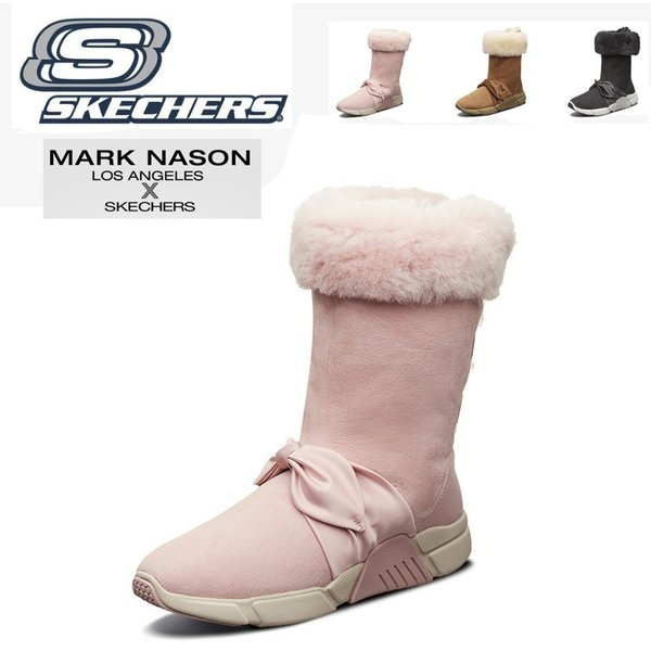 スケッチャーズ ウール 羊の皮スノーブーツ リボン skechers MARK NASON LOS ANGELES レディース ハイスノーブーツ 靴 秋冬新作 シューズ ベルベット 68866