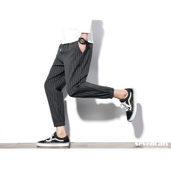 メンズ パンツ ストライプ 縦縞 コットン パンツ ストレッチパンツ 美脚 スリムパンツ 送料無料|sevencats|04