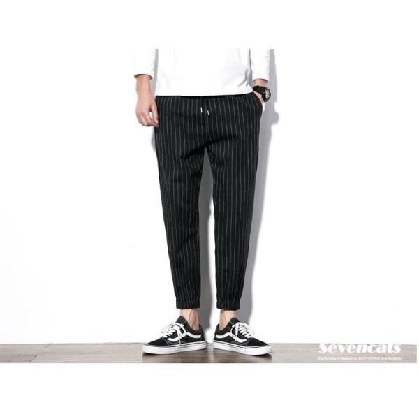 メンズ パンツ ストライプ 縦縞 コットン パンツ ストレッチパンツ 美脚 スリムパンツ 送料無料|sevencats|06