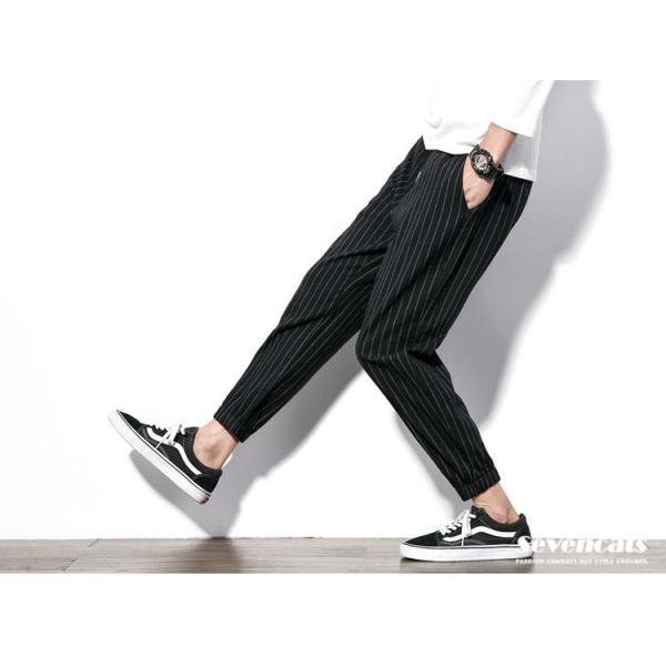 メンズ パンツ ストライプ 縦縞 コットン パンツ ストレッチパンツ 美脚 スリムパンツ 送料無料|sevencats|08