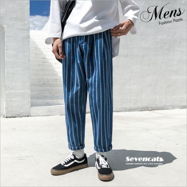 メンズ デニムパンツ ジーンズ スキニーデニム ゆとり ロングパンツ ズボン メンズ テーパード ジーパン 送料無料|sevencats