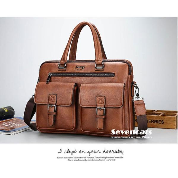 ブリーフケース メンズ ビジネスバッグ ショルダーバッグ レザーバッグ カバン 通勤バッグ 2way 斜めがけ 大容量 鞄 送料無料|sevencats|13