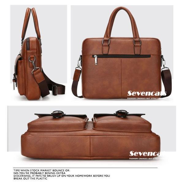 ブリーフケース メンズ ビジネスバッグ ショルダーバッグ レザーバッグ カバン 通勤バッグ 2way 斜めがけ 大容量 鞄 送料無料|sevencats|14
