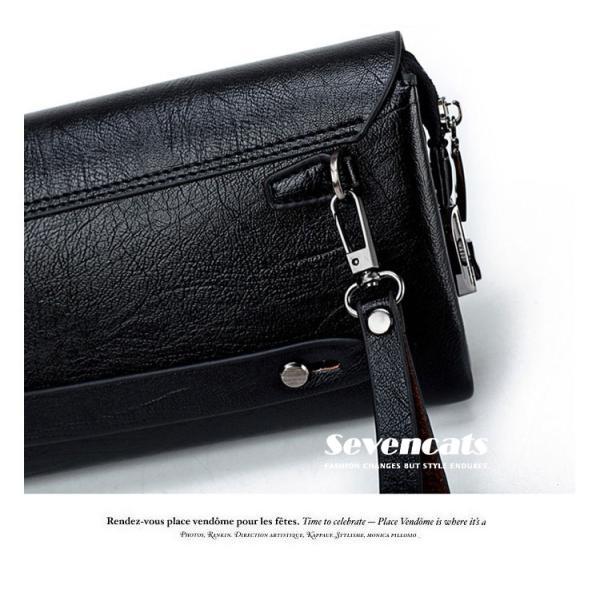ハンドバッグ 財布 メンズ 長財布 ラウンドファスナー カード 収納 携帯 スマート 大容量 小銭入れ お札入れ 送料無料|sevencats|16