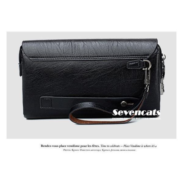 ハンドバッグ 財布 メンズ 長財布 ラウンドファスナー カード 収納 携帯 スマート 大容量 小銭入れ お札入れ 送料無料|sevencats|09
