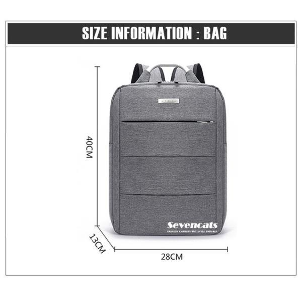 リュックサック メンズ レディース ビジネスリュック バックパック ビジネスバッグ デイパック リュックバッグ 大容量 USB対応 防水 通学 通勤 旅行 軽量 かばん sevencats 16