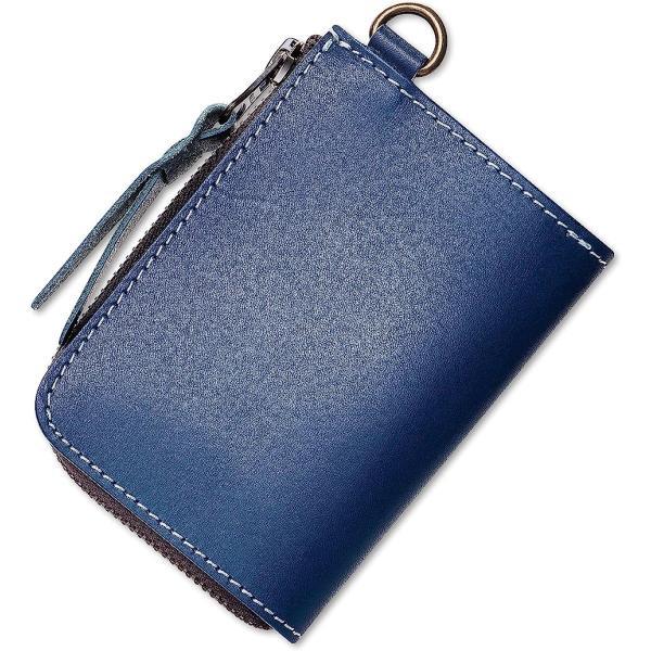 STCRAFTL字ファスナーコンパクト財布本革ミニマリスト共に育つイタリンレザーメンズYKK使用(Blue,Small)