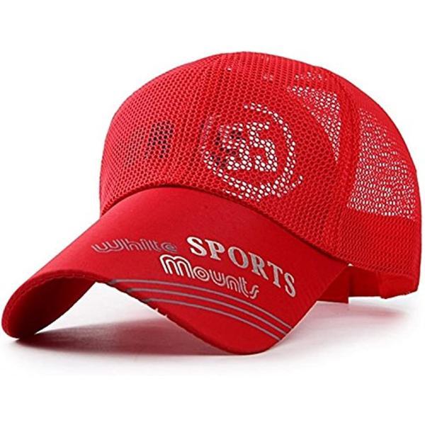 ベイビーマインメッシュキャップロゴカジュアルつば長野球帽帽子アウトドア釣りゴルフ通気性メンズレッド(4.レッド)