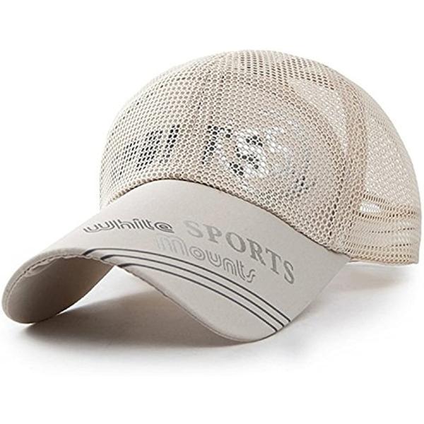 ベイビーマインメッシュキャップロゴカジュアルつば長野球帽帽子アウトドア釣りゴルフ通気性(6.ベージュ,Free)