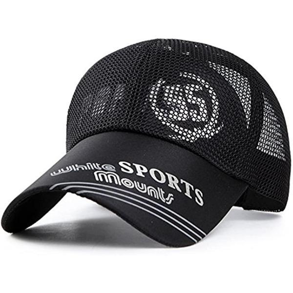 ベイビーマインメッシュキャップロゴカジュアルつば長野球帽帽子アウトドア釣りゴルフ通気性メンズブラック(2.黒)