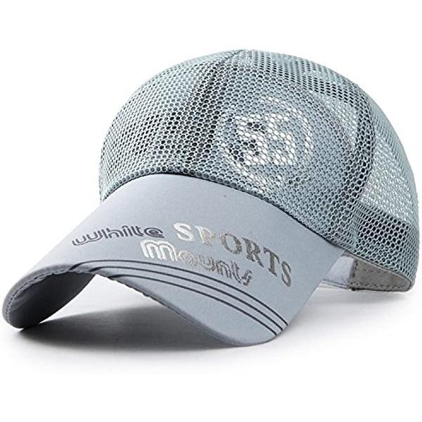 ベイビーマインメッシュキャップロゴカジュアルつば長野球帽帽子アウトドア釣りゴルフ通気性メンズグレー(1.グレー)