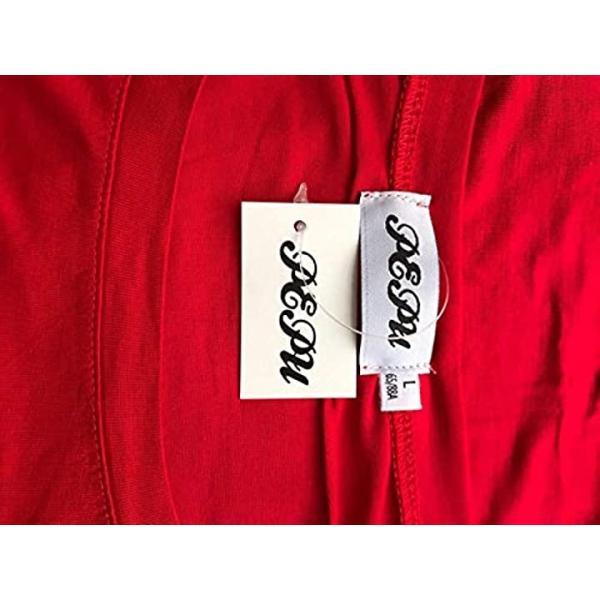 [ペプ] アシンメトリー レディース カットソー Tシャツ 長袖 シンプル 無地 トップス ロング丈 ゆったり インナー(レッド 赤, M)|sevenleaf|08
