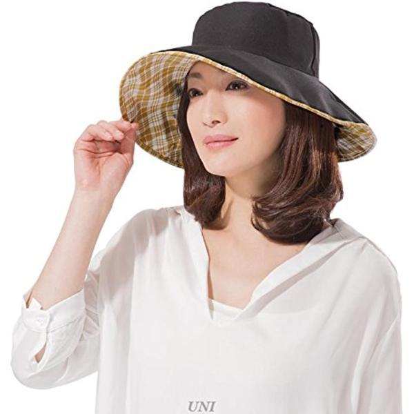 リバーシブルUVレイン帽子 ブラック×チェック