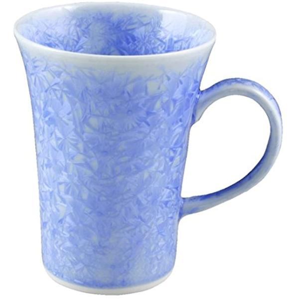 京焼清水焼陶あん窯マグカップ花結晶青トウア805(ブルー)
