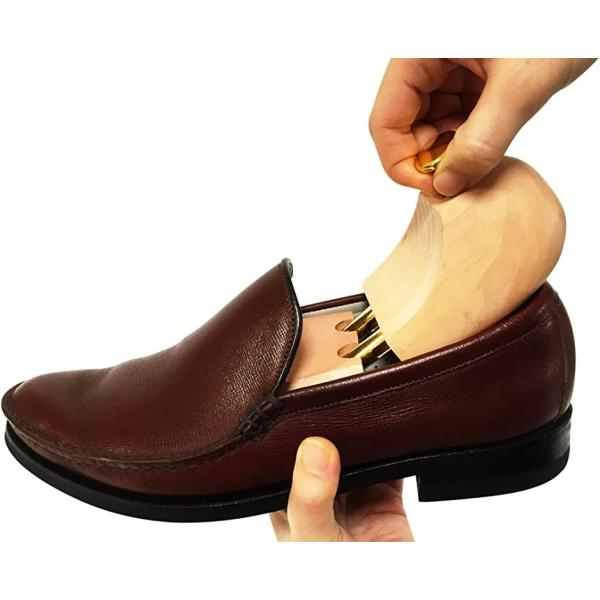 シューツリー シューキーパー 木製 靴磨きクロス付き 23.5-24.0cm(ブラウン, 23.5〜24.5 cm)|sevenleaf|07