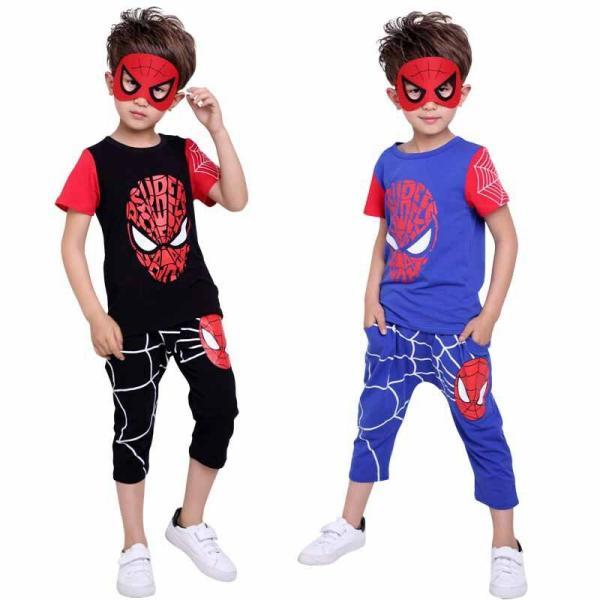 スパイダーマン 上下セット スパイダーマンパーカ 2点セット 子供服 短袖 セットアップ 男の子 夏物 キッズ|seventhlandya