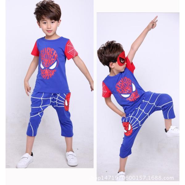 スパイダーマン 上下セット スパイダーマンパーカ 2点セット 子供服 短袖 セットアップ 男の子 夏物 キッズ|seventhlandya|02