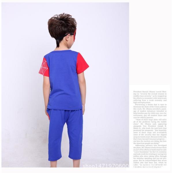スパイダーマン 上下セット スパイダーマンパーカ 2点セット 子供服 短袖 セットアップ 男の子 夏物 キッズ|seventhlandya|03