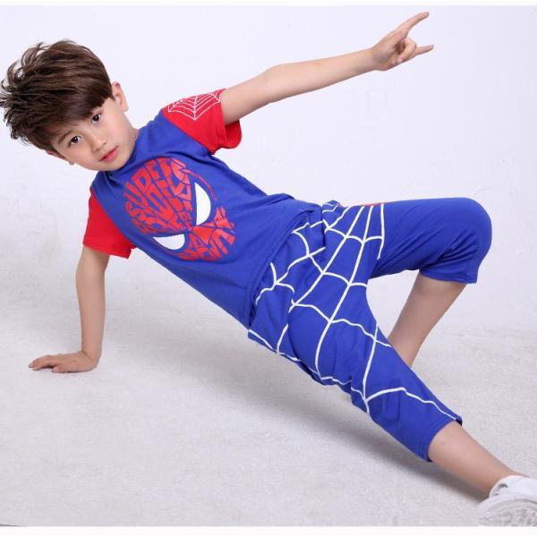 スパイダーマン 上下セット スパイダーマンパーカ 2点セット 子供服 短袖 セットアップ 男の子 夏物 キッズ|seventhlandya|04