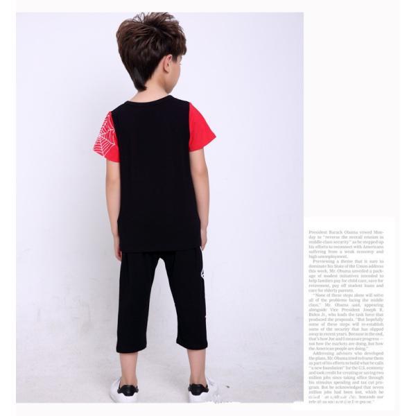 スパイダーマン 上下セット スパイダーマンパーカ 2点セット 子供服 短袖 セットアップ 男の子 夏物 キッズ|seventhlandya|06