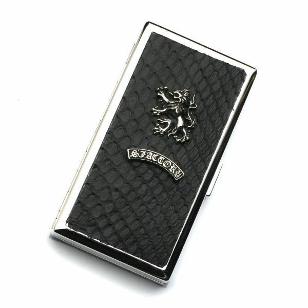 S'FACTORY 喫煙具 メタルシガレットケース 12本タイプ ブラックパイソン(ヘビ革)