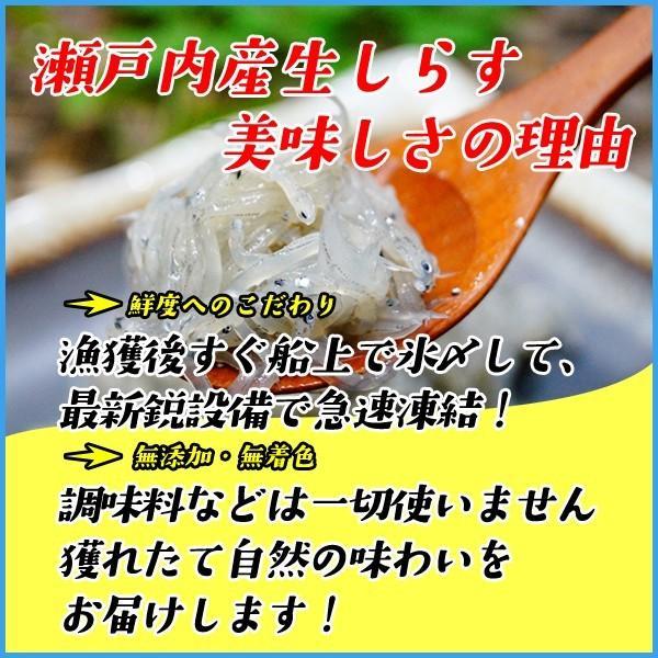 生しらす(シラス)200g 無添加 瀬戸内産 海鮮丼に 冷凍食品 無着色 お歳暮 sfd-ymd 03
