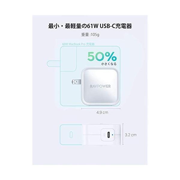 RAVPower 61W USB-C 急速充電器(世界最小最軽量クラス/2019年9月時点)【GaN (窒化ガリウム) 採用/折畳式/PD 3.0対応 sh-price 03