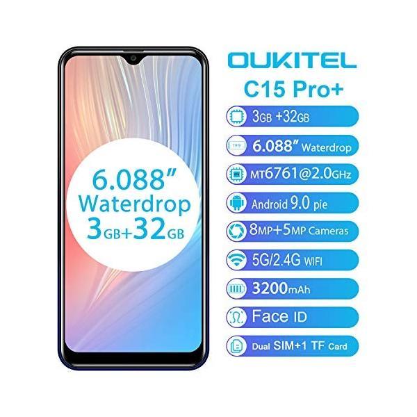 OUKITEL C15 PRO+ SIMフリースマートフォン Android 9.0 6.088インチ19.5:9 HD+大画面 MT6761 2.0|sh-price|02