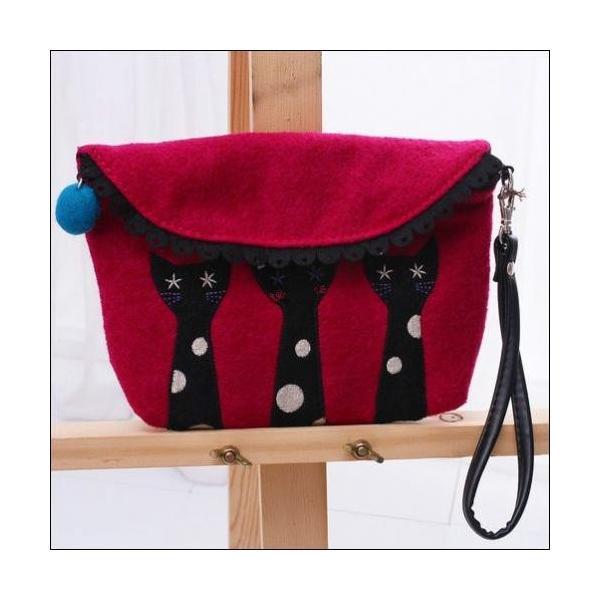 クラッチバッグ 可愛い猫ちゃんアップリケの小物入れが送料無料|shalalacoat-store|02