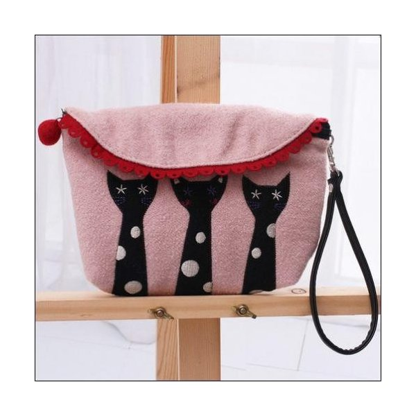 クラッチバッグ 可愛い猫ちゃんアップリケの小物入れが送料無料|shalalacoat-store|03