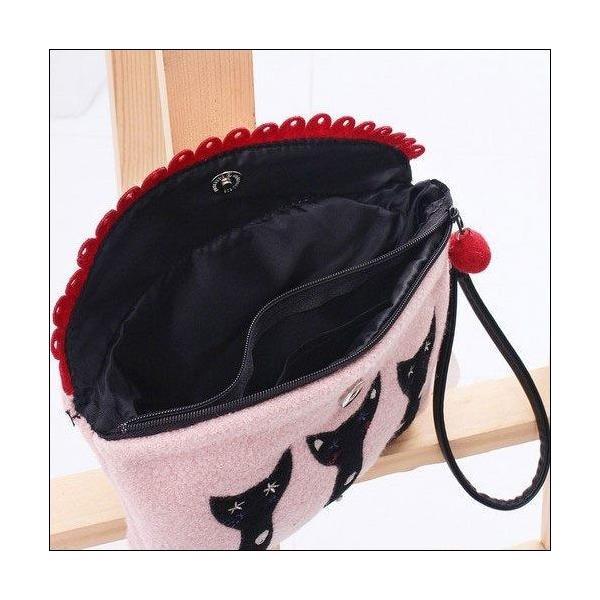 クラッチバッグ 可愛い猫ちゃんアップリケの小物入れが送料無料|shalalacoat-store|05