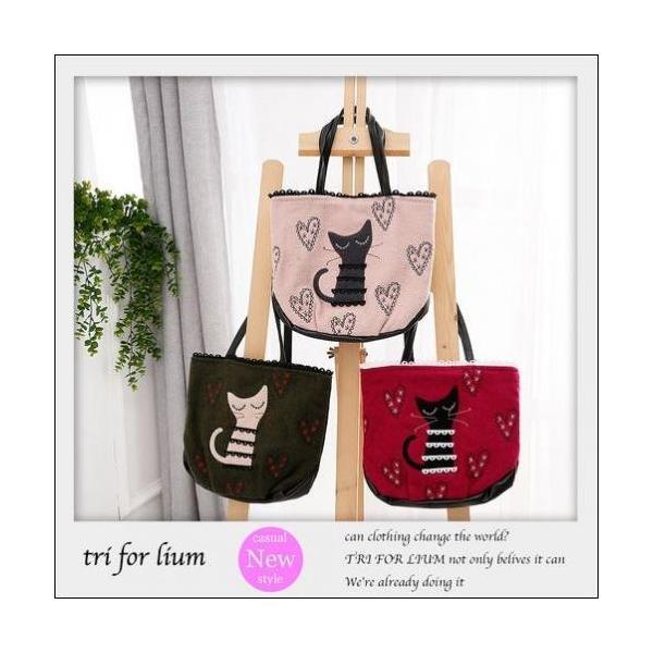 トートバッグ ラブリーな猫のアップリケハートの刺繍ミニトートバックが送料無料 shalalacoat-store