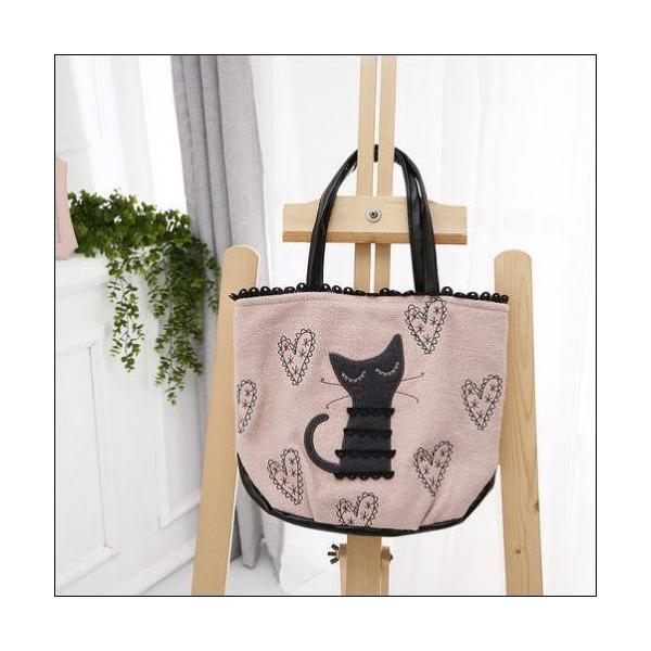 トートバッグ ラブリーな猫のアップリケハートの刺繍ミニトートバックが送料無料 shalalacoat-store 02