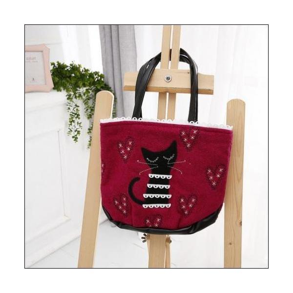 トートバッグ ラブリーな猫のアップリケハートの刺繍ミニトートバックが送料無料 shalalacoat-store 03
