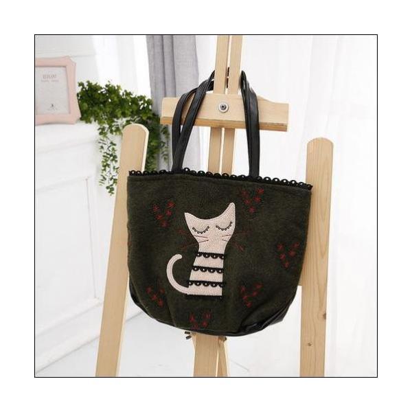 トートバッグ ラブリーな猫のアップリケハートの刺繍ミニトートバックが送料無料 shalalacoat-store 04