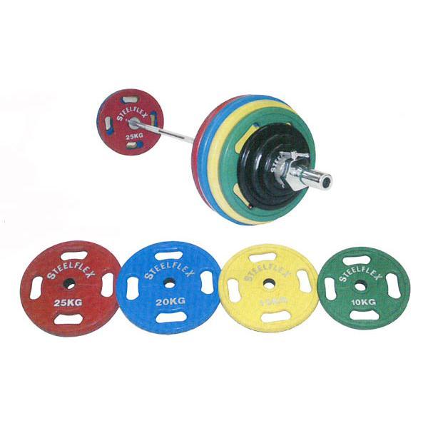 (オリンピックプレート)(スチールフレックス バーベルプレート)STEELFLEX カラープレート15kg 50mm孔径