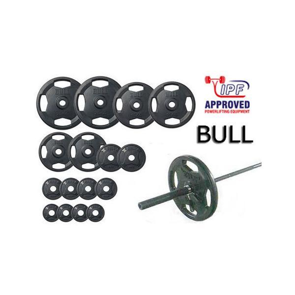 (予約販売中:10月初め頃入荷)BULL Φ50mmラバープレートセット135kgセット(シャフト:BL‐OPSセラミック)(IPF規格仕様)