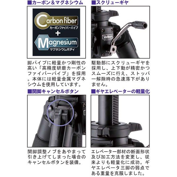 ベルボン Professional Geo V640 中型カーボン三脚4段 【送料無料】