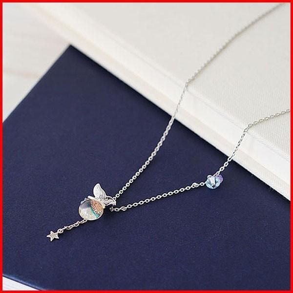 ネックレス アクセサリー チェーン レディース ロング アジャスター 結婚式 誕生日 ペンダント てふてふ おしゃれ かわいい プレゼント ガラス ブルー|shatti
