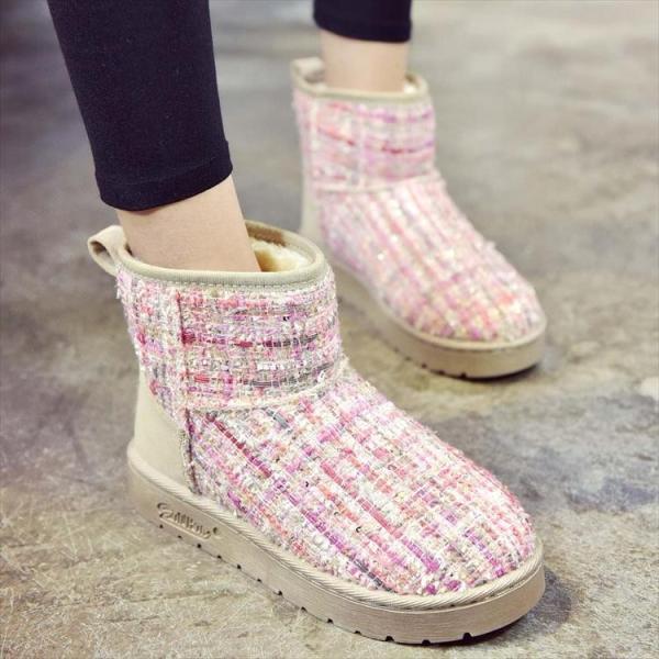 ムートン ブーツ シューズ レディース ショートブーツ 美脚 可愛い チェック フラットヒール ウェッジソール 痛くない 履きやすい 脱げない 暖かい 送料無料