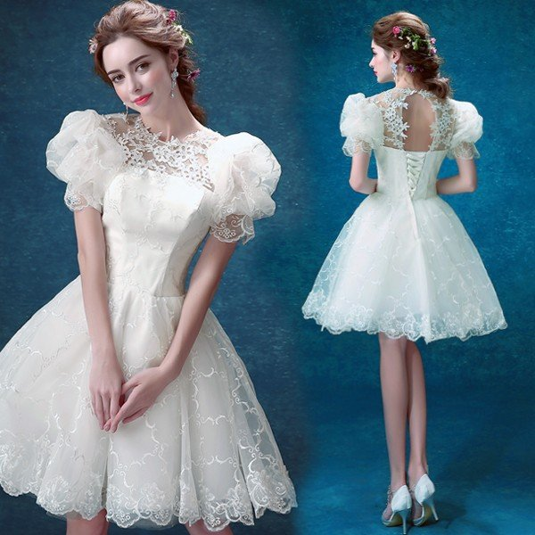 96ae38378ab94 花嫁  ウェディングドレス ミニドレス 結婚式 披露宴 二次会 手作り ...