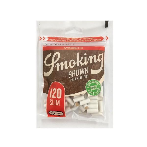 スモーキング スリム ブラウン フィルター 手巻きタバコ用 120個入り シャグ 喫煙具 メール便250円対応