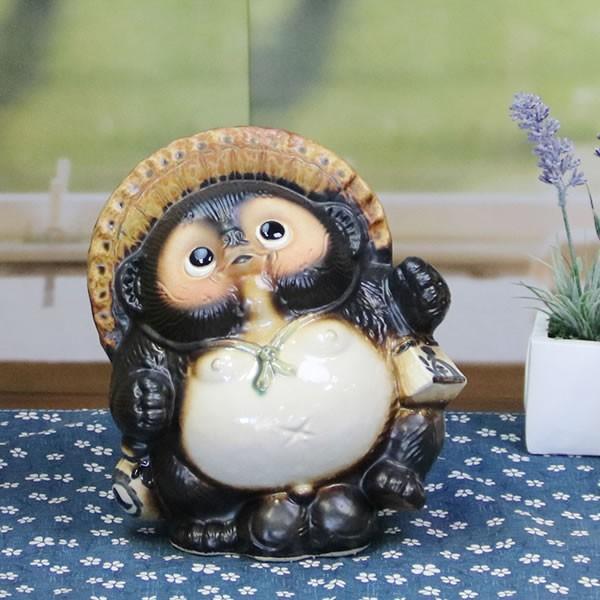 信楽焼 たぬき タヌキ 置き物たぬき タヌキ信楽 陶器タヌキ 狸 陶器 たぬき陶器 6号踊り狸  ta-0195|shigaraki