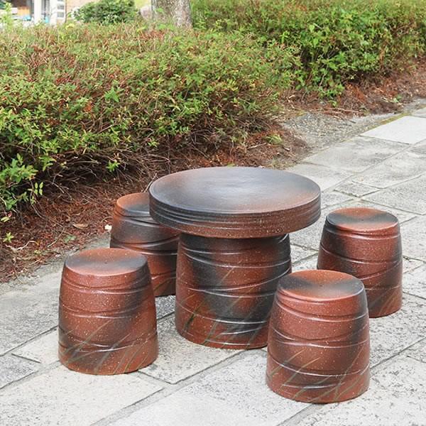 陶器テーブル 20号 信楽焼ガーデンテーブル お庭 ベランダ 庭園セット ガーデンテーブルセット 陶器 イス 信楽焼テーブル ガーデンセット やきもの te-0002