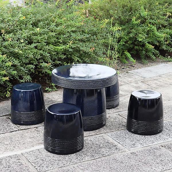 信楽焼 20号  テーブルセット 庭園 ベランダ 陶器 テーブル イス ガーデンテーブルセット te-0006