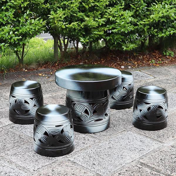 信楽焼 20号  テーブルセット 庭園 ベランダ 陶器 テーブル イス ガーデンテーブルセット te-0013