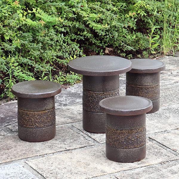 信楽焼 14号窯肌テーブルセット 庭園、ベランダ用の陶器テーブル 陶器イス 陶器ガーデンテーブルセット  te-0027