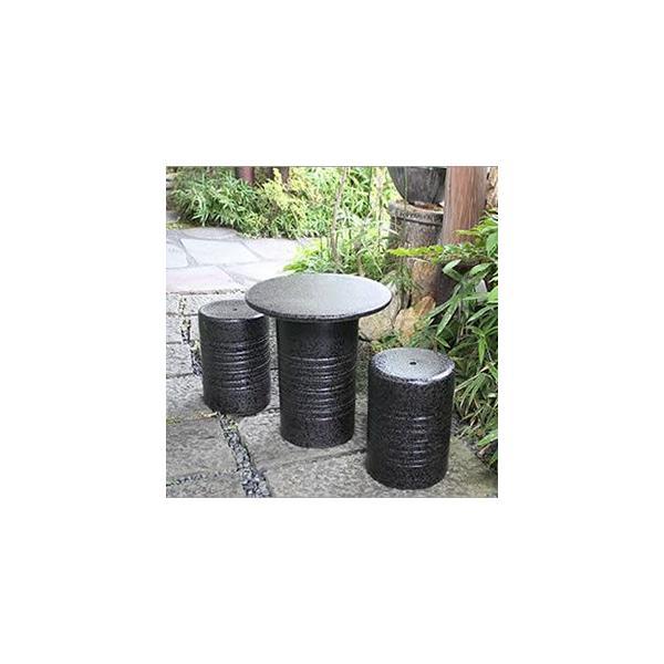 信楽焼 14号黒スパタテーブルセット 庭園、ベランダ用の陶器テーブル 陶器イス 陶器ガーデンテーブルセット  te-0034 shigaraki 02