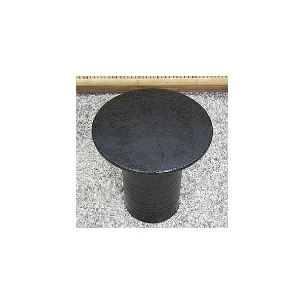 信楽焼 14号黒スパタテーブルセット 庭園、ベランダ用の陶器テーブル 陶器イス 陶器ガーデンテーブルセット  te-0034 shigaraki 03
