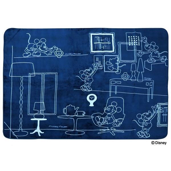 ミッキー ラグ カーペット 洗えるラグ ライン/ミッキー ネイビー 約200×250cm 約3畳 フランネル ホットカーペット対応|shikimonoya5o5o|02